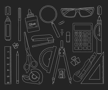 correttore: Strumenti di cancelleria contorni neri: marcatori, clip di carta, penna, raccoglitore, clip, righello, colla, zoom, forbici, cucitrice, correttore, occhiali, matita, calcolatrice, gomma, coltello, bussole, goniometro