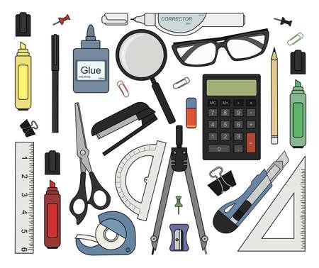 correttore: Set di colore strumenti di cancelleria: marcatore, graffetta, penna, raccoglitore, clip, righello, colla, zoom, forbici, scotch, cucitrice, correttore, occhiali, matita, calcolatrice, gomma, coltello, bussole, goniometro Vettoriali