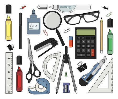 Set of color stationery tools: marker, paper clip, pen, binder, clip, ruler, glue, zoom, scissors, scotch tape, stapler, corrector, glasses, pencil, calculator, eraser, knife, compasses, protractor