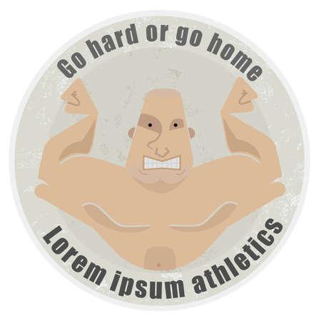 torso: Go hard or go home, stone athletic emblem with huge, bold, bodybuilder torso Illustration