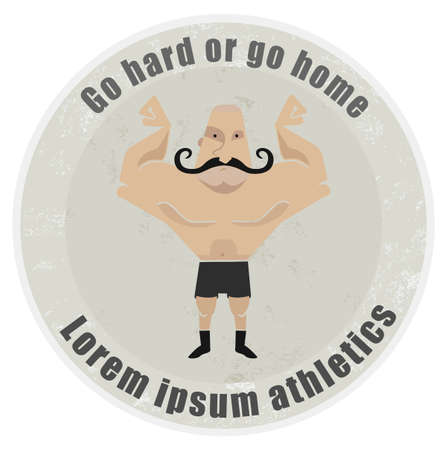 mustached: Go hard or go home, stone athletic emblem with huge, bald, mustached bodybuilder