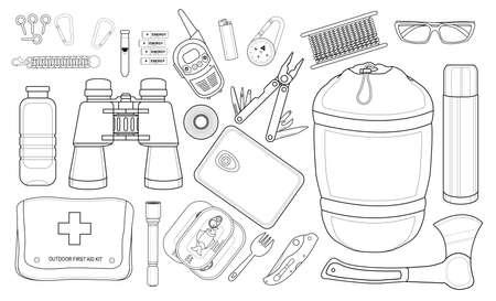 survival: Set of survival camping equipment: carabiner, whistle, batteries, radio set, lighter, compass,  rope, sunglasses, bracelet, bottle, line art Illustration