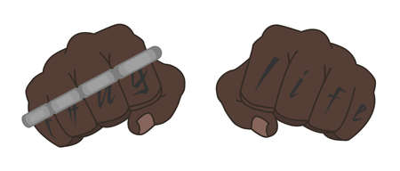 Clenched black man fists with Thug life tattoo holding brass knuckles Vector