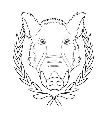 taxidermy: Hunting trophy. Feral taxidermy wild boar head with big tusks in laurel wreath. Contour lines vector illustration isolated on white