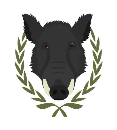 taxidermy: Hunting trophy. Feral taxidermy wild boar head with big tusks in laurel wreath. Color vector illustration isolated on white Illustration