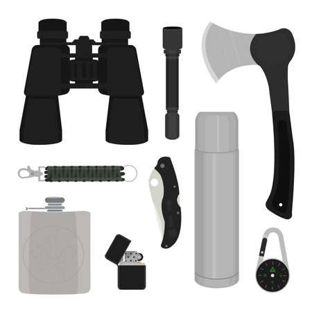 pocket flashlight: Camping set: binoculars, flashlight, ax, survival paracord bracelet, folding pocket knife, aluminum thermos, compass, lighter, flask. No contour vector illustration isolated on white