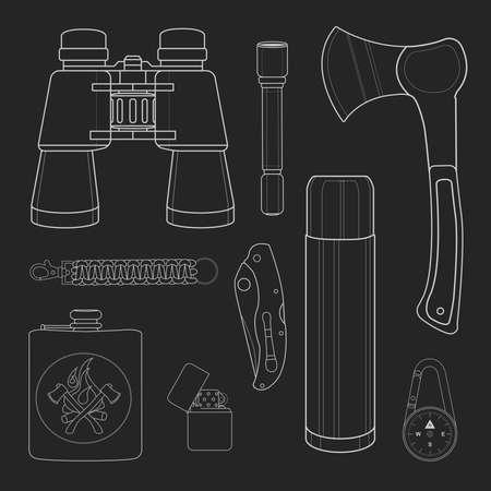 Camping set: binoculars, flashlight, ax, survival paracord bracelet, folding pocket knife, aluminum thermos, compass, lighter, flask. Chalk on blackboard drawing vector illustration