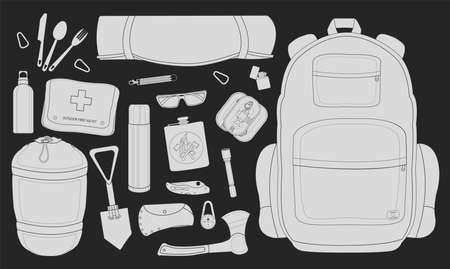 pocket flashlight: Camping set: carabiner, knife, spoon, fork, mat, backpack, lighter, canned food, flashlight, ax, compass, pocket knife, flask, sunglasses, bracelet, first aid, sleeping bag. Chalkboard illustration