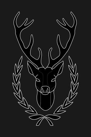 taxidermy: Hunting trophy. Mystical stuffed taxidermy deer head with big antlers in laurel wreath. Black and white inverse color illustration isolated on black