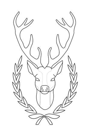 taxidermy: Hunting trophy. Stuffed taxidermy deer head with big antlers in wood shield. Line-art vector illustration isolated on white Illustration