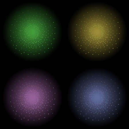 Star glimmer shine vector clip art element. Green, yellow, violet and dark blue. Clip art isolated on black