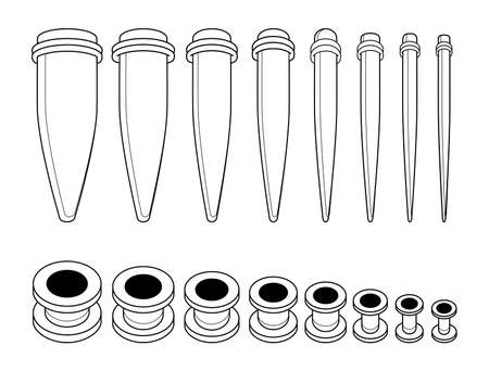 taper: Set of ear tunnels and taper starters kit different sizes icons. Contour lines illustration isolated on white