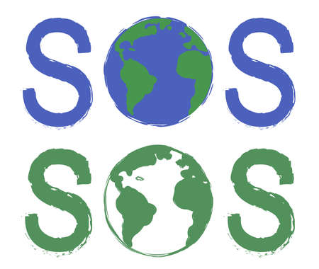conservancy: Sos scratch grunge graffiti print sign with planet earth icon in green and blue colors isolated on white Illustration