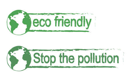 conservancy: Eco friendly, stop the pollution, scratch grunge graffiti print sign with planet earth icon in green color isolated on white