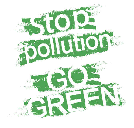 Stop pollution. Go green. Eco friendly grunge  style scratched green graffiti signs. Clip art isolated on white Vector