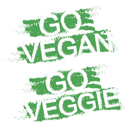 Go vegan. Go veggie. Vegetable diet grunge  style scratched green graffiti signs. Clip art isolated on white Vector