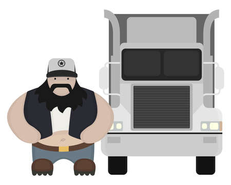 Fat round flat cartoon style black beard truck driver. In trucker cap standing near big cargo car. Color no outline illustration isolated on white