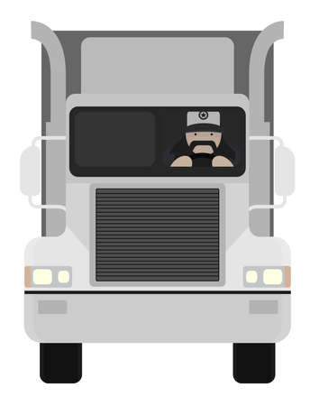 Fat round flat cartoon style black beard truck driver. In trucker cap sitting inside big cargo car. Color no outline illustration isolated on white