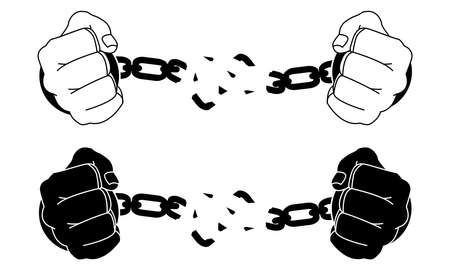 Male hands breaking steel handcuffs. Black and white vector illustration isolated on white
