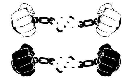 Manos masculinas que rompen las esposas de acero. Ilustración de vector blanco y negro aislado en blanco Ilustración de vector