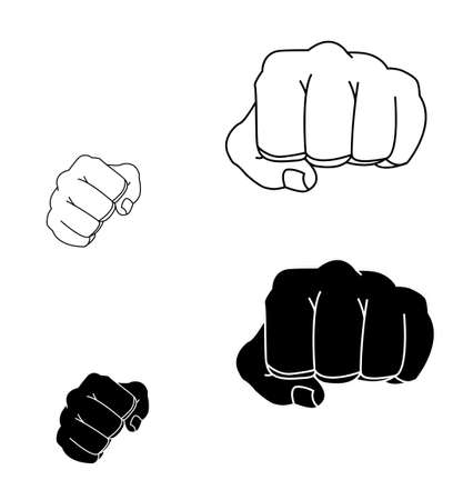 stance: Clenched striking man fists in fight stance. Ready to fight. Contour lines illustration isolated on white