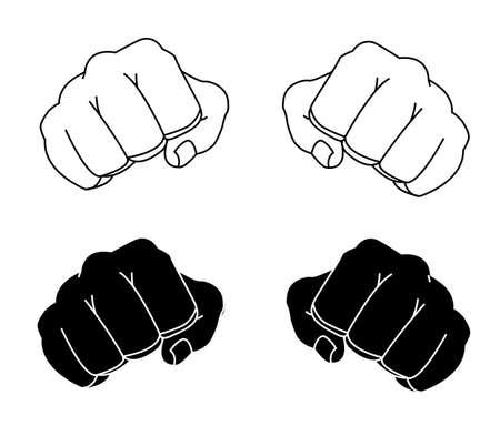 Geballte Mannfäuste der Comicsart geballte Schwarzweiss-Konturlinienillustration lokalisiert auf Weiß Vektorgrafik