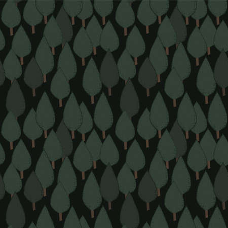 dense: Autumn tree seamless vector pattern. Dense green hand drawn night forest. Background repeat texture