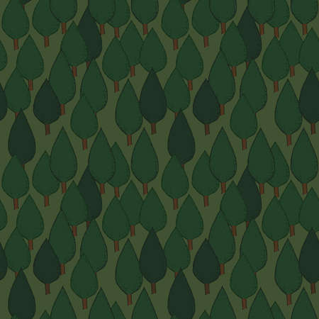 dense: Summer tree seamless vector pattern. Dense green hand drawn forest. Background repeat texture