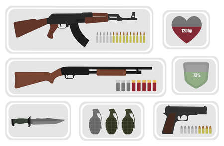 assault rifle: Army game resource set. Military soldier inventory: assault rifle, health bar, shotgun, shield bar, combat knife, grenade, pistol, bullets. No outline illustration isolated on white Illustration