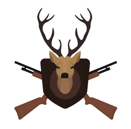 taxidermy: Hunting trophy. Stuffed taxidermy deer head with big antlers in wood shield. 2 crossed shotguns. Color no outline illustration isolated on white