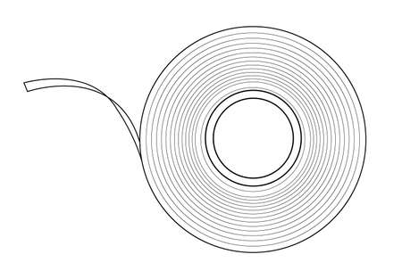 Transparent insulation scotch tape. Contour lines illustration isolated on white background Vector