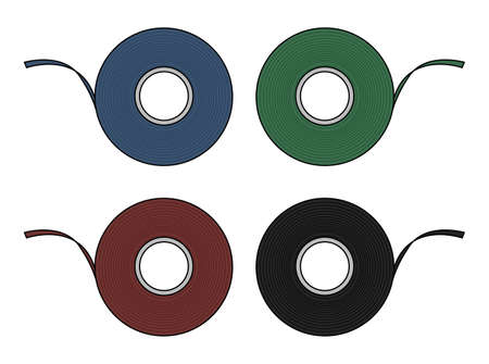 scotch: Blue, green, red, black insulation scotch tape set. Color clip art illustration isolated on white background