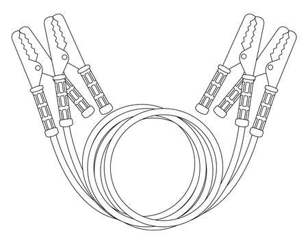 clamps: Car jumper power cables. Red and black wire, cooper clamps. Contour line illustration isolated on white background