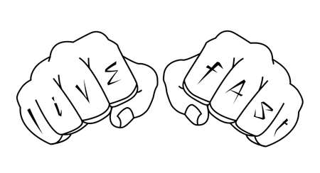 brutal: Fists with live fast fingers tattoo. Man hands outlines vector illustration isolated on white