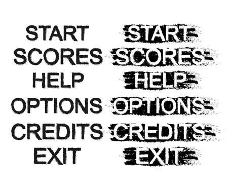 scores: Set of video game menu resources buttons: start, scores, help, options, credits, exit. In normal and pressed stances. Grunge scratches style. Clip art isolated on white Illustration