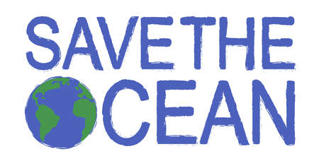 conservancy: Save the ocean scratch grunge graffiti print sign with planet earth icon in blue color isolated on white