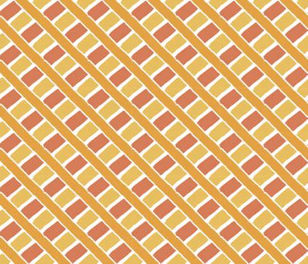 intense: Disegno annata rombo mano forme ornamento sfondo, strisce incrociate, geometrico seamless texture pattern. I colori arancio intenso Vettoriali