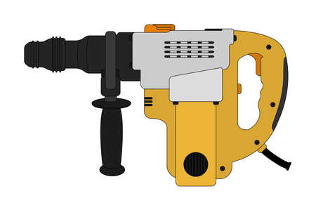 perforator: Big electric hammer drill icon in black and yellow colors. Clip art illustration isolated on white Illustration