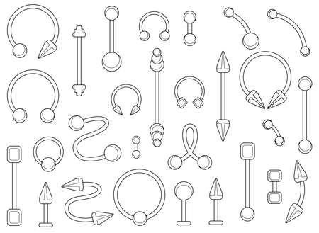 to pierce: Set of silver body piercings jewelry. Curve, ball, dumbbell, spike, circle shapes. Contour lines illustration isolated on white Illustration
