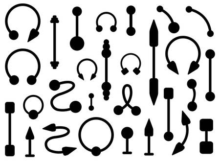to pierce: Set of body piercings jewelry. Curve, ball, dumbbell, spike, circle shapes. Black contour illustration isolated on white Illustration