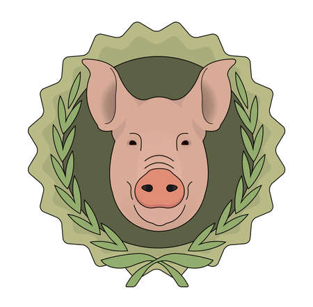 Eco butchery organic food vector logo. Big pink pig head in laurel wreath. Color illustration isolated on  white Vector