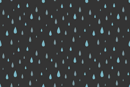desaturated colors: Rain vector seamless pattern, dark cold autumn night. Desaturated colors. Big blue raindrops falling from the dark sky