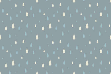 desaturated colors: Rain vector seamless pattern, foggy cold autumn day. Desaturated colors. Big blue and white raindrops falling from the sky Illustration