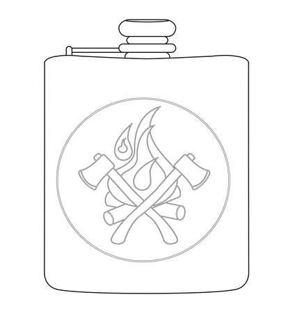 hip flask: Realistic drinking stainless steel vector flask icon. Contour lines illustration isolated on white Illustration