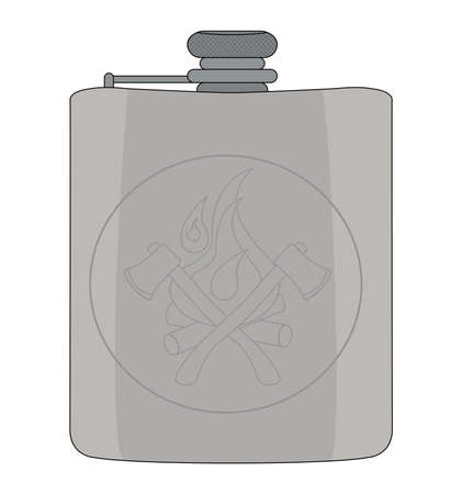 hip flask: Realistic drinking silver shiny vector flask icon. Color illustration isolated on white