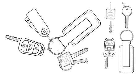 car accessory: Set of realistic keys icons: remote car starter, usb flash drive, leather trinket, group of house keys. Contour lines illustration isolated on white