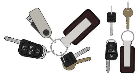 Set of realistic keys icons: remote car starter, usb flash drive, leather trinket, group of house keys. Color illustration isolated on white Vector
