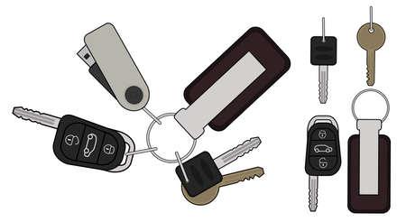 Set of realistic keys icons: remote car starter, usb flash drive, leather trinket, group of house keys. Color illustration isolated on white Illustration