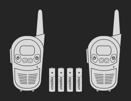 portable radio: Two travel portable mobile vector radio set devices wit 4 accumulator batteries. Chalkboard illustration isolated on black