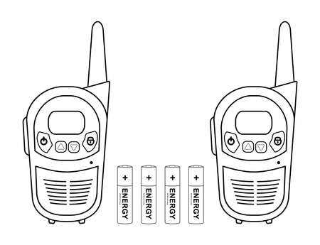 Two travel black portable mobile vector radio set devices wit 4 accumulator batteries. Contour lines illustration isolated on white Illustration